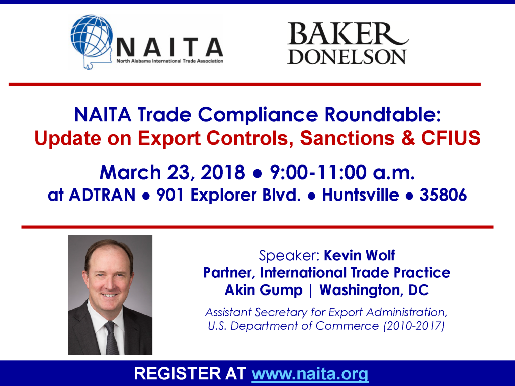 TCR | Update on Export Controls, Sanctions & CFIUS with Kevin Wolf @ ADTRAN