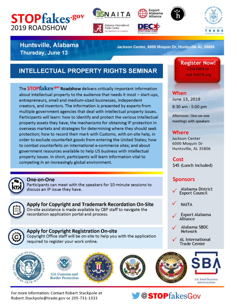 STOPfakes.gov Intellectual Property Rights Seminar @ Jackson Center