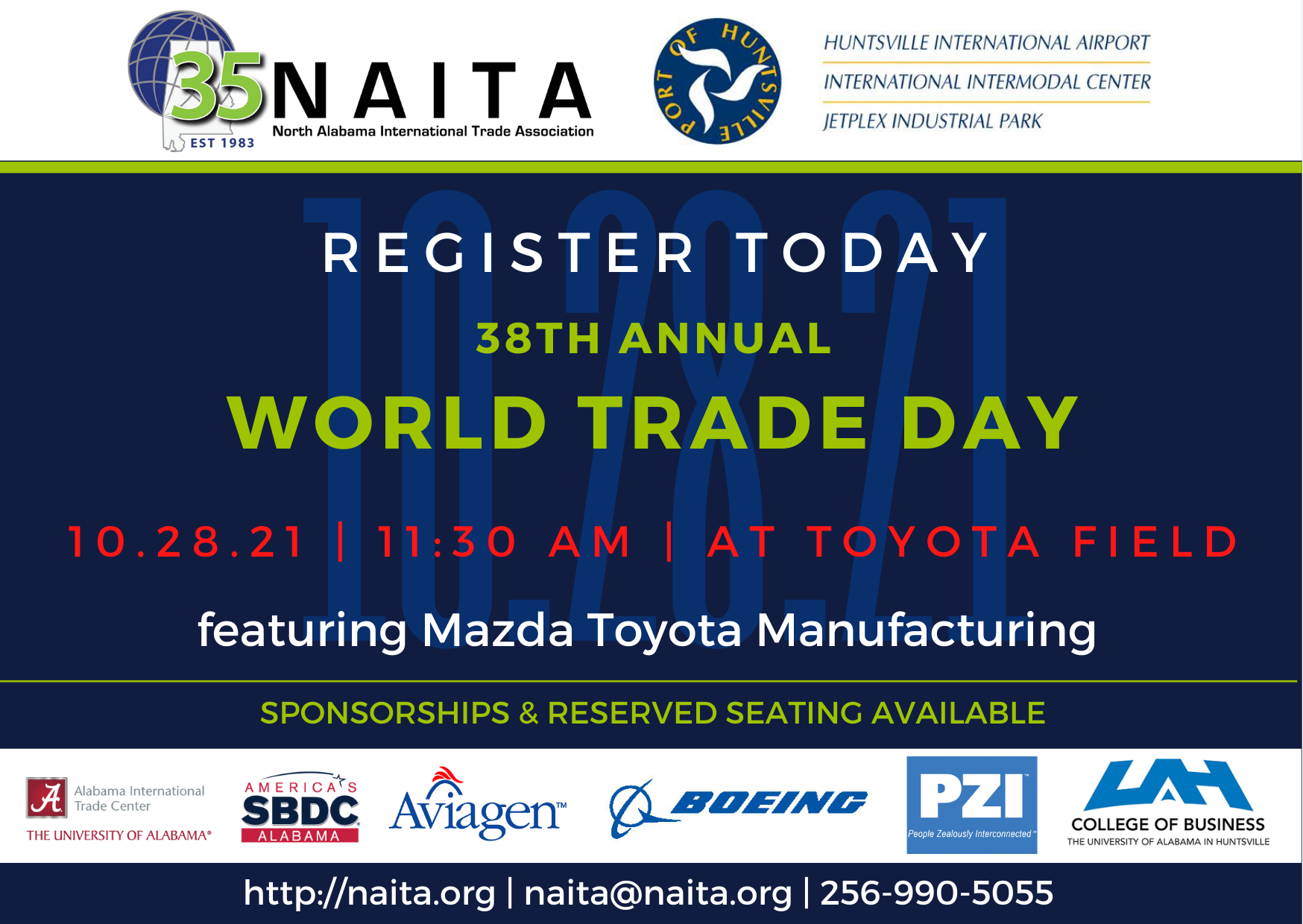 NAITA 2021 World Trade Day Celebration featuring Mazda Toyota Manufacturing @ Toyota Field