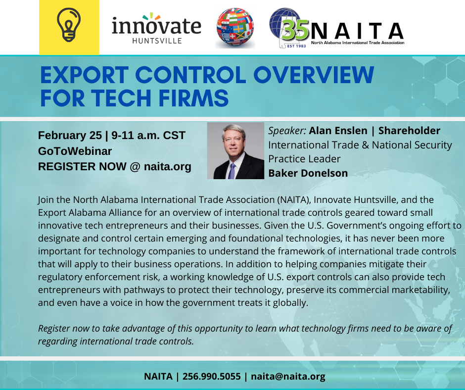 Click for Slides Presented at NAITA Trade Compliance Roundtable | Export Control Overview for Tech Firms