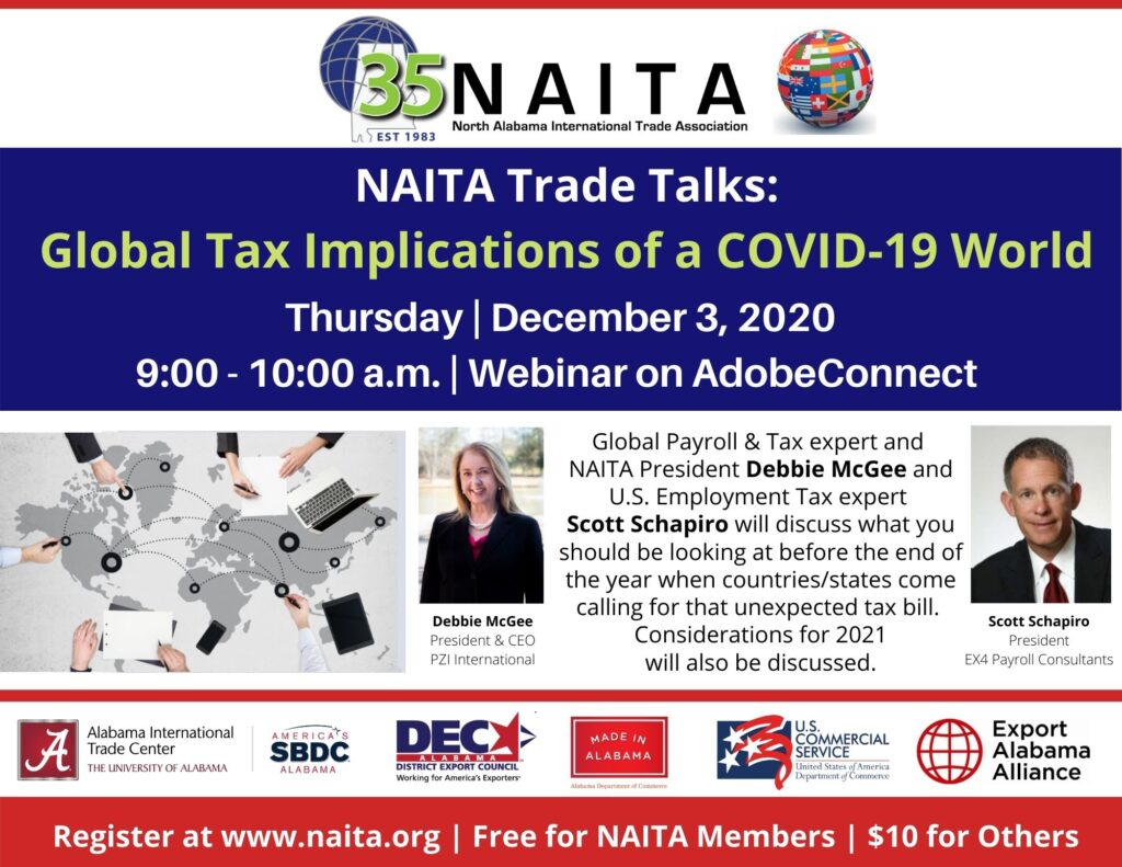 NAITA Trade Talks | Global Tax Implications in a COVID-19 World @ AdobeConnect - Link to be sent after registration.