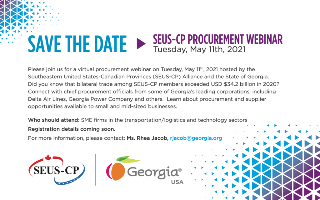 SEUS-CP (Southeastern U.S.-Canadian Provinces Alliance) Procurement Webinar